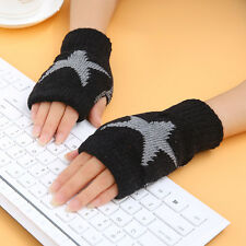 Women Winter Half Finger Knit Lace Gloves Cute Hand Warmer learn Mittens