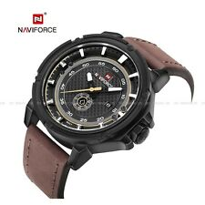 Quartz Date Leather Analog Fashion Naviforce Men's Army Sport Wrist Watch Gifts