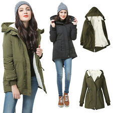 Fleece Hooded Coat Women Overcoat Jacket Trench Warm Parka Winter Long Outerwear