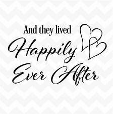 HAPPILY EVER AFTER vinyl wall art sticker heart love family home saying decal