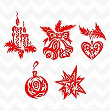 Christmas decorations vinyl stickers set of 5 decals  home shop wall window door