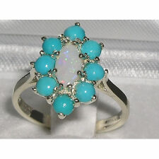 Ladies Solid British 925 Sterling Silver Natural Opal & Turquoise Cluster Ring