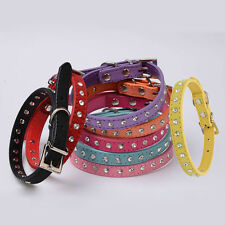 Bling Adjustable Rhinestone PU Leather Crystal Puppy Collar Pet Dog Cat Collar #