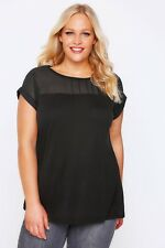 Plus Size Black Top With Sheer Panel & Short Sleeves