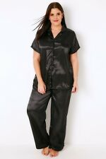 Plus Size Black Satin Shirt & Trousers Pyjama Set With Lace Trim