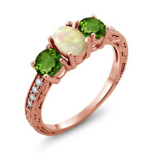 1.63 Ct Ethiopian Opal Green Chrome Diopside 18K Rose Gold Plated Silver Ring