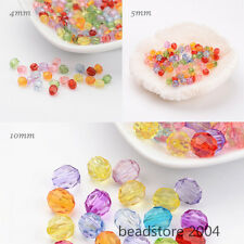 100/200pcs Mixed Color Faceted Dyed Acrylic Round Bead 4mm/5mm/10mm Craft Making