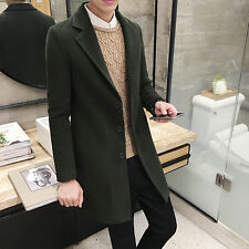 Mens Slim Fit Button Wool Blend Long Jackets Coats Overcoat Outwear Size M-4XL