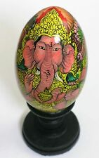 Large Wooden Easter Egg - Hand Painted Gift Box & Stand