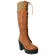 Womens Knee High Boots Lace Up Combat High Heel Shoes Tan