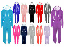 New Womens Mens Unisex Plain Ladies All In One Jumpsuit Hooded Onesie S to 5XL