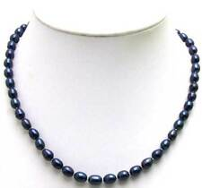 SALE Big 8-9MM Natural Freshwater BLACK Rice PEARL17'' NECKLACE -nec5590
