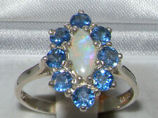 Sterling Silver Natural Fiery Opal & Cornflower Blue Sapphire Cluster Ring