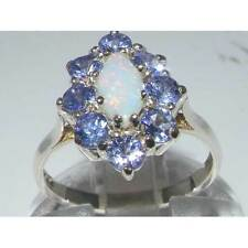 Ladies Solid British 925 Sterling Silver Natural Opal & Tanzanite Cluster Ring
