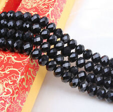 20-100 Black Rondelle Faceted Crystal Glass Spacer Bead Finding 4/6/8/10mm DIY