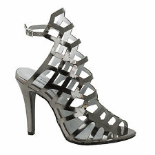 Sexy Pewter Mirror Prom Party Strappy High Heel Peeptoe Sandal Shoe