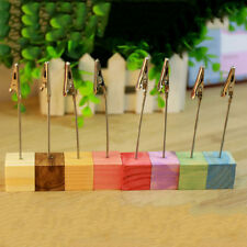 Wooden Memo Paper Note Picture Table Card Number Photo Clip Holder HH