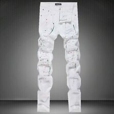 Men's Slim White Hand Painted Destroyed Ripped Retro Skinny Jeans Casual Pants