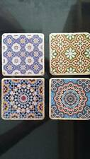 Moroccan tile Tumbled Travertine /Marble /Natural Stone Single Coasters set of 4