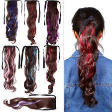 8 Colors Fashion Women Synthetic Fiber Hair Ponytails Wavy Highlight Hairpieces