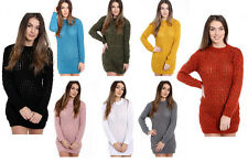 Womens Ladies Chunky Cable Knitted Long Sleeve Bodycon Jumper Dress Top 8-14