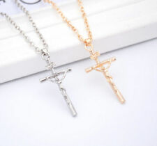 1 Pc Necklace 2016 Silver Pendant Cross Jewelry Jesus HOT Crucifix Chain Christ