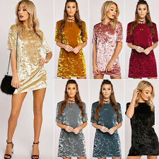 Womens Velvet Evening Prom Dress Long T Shirt Tops Loose Blouse Dress Pullover