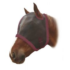 Legacy Supreme Equestrian Fly Mask With/Without Ears Burgundy & Black