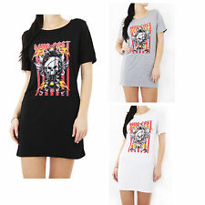 Womens Ladies Live Fast Print Short Sleeve Casual T Shirt Dress Top Size 8-14