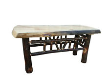 Rustic Pine and Hickory Log Natural Edge Bench/ Coffee Table - Multiple Sizes