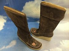 "Report Brown Suede Pull On Knee-high 3"" Heel Wedged Boots Women Size 8, 8.5"