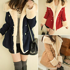 Womens Warm Winter Faux Fur Parka Trench Coat Jacket Casual Fleece Tops Overcoat