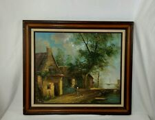 Oil Painting Country cottage by the sea Woman Walking Signed  Baillie