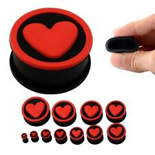 RED HEART BLACK SILICONE EAR PLUGS Stretchers Jewellery Piercing Tunnels PL119
