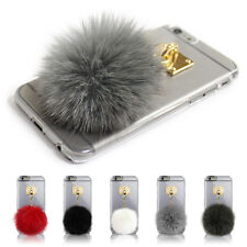 Fox Fur Ball Charm Clear Transparent Hard Skin Case Cover for iPhone 6/6S/7/Plus