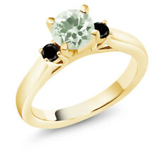 1.15 Ct Green Amethyst Black Diamond 18K Yellow Gold Plated Silver 3-Stone Ring