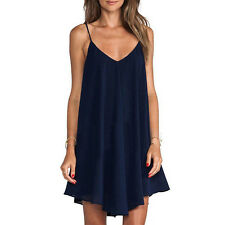 Sexy Deep V Slip Dress Fashion A-Line Chiffon Braces Skirt Casual Beach Sundress