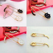 New Cute Women Lady's White Black Cat Pin Brooch Safety Pin Cardigan Pin