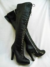 Jessica Simpson Mitton Sexy Black Leather Thigh High Over the Knee Heeled Boots