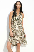 Anthropologie Drifting Lilies Dress Sz 6, Silk Chiffon Floral Frock Leifsdottir