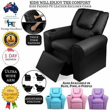 Kids Recliner Sofa Children Lounge Chair Padded PU Leather Armchair Drink Holder