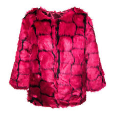 Womens Bleeding Heart Pink Mix Synthetic Faux Fur Fully Lined Cropped Jacket