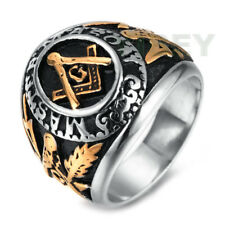 Men's Jewelry Stainless Steel Ring Freemason Masonic Blue Lodge Mason Gold Tone