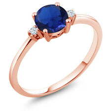 0.78 Ct Round Blue Simulated Sapphire White Created Sapphire 10K Rose Gold Ring
