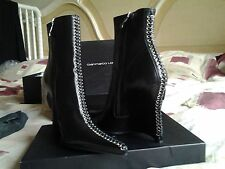 GIANMARCO LORENZI BLACK LEATHER WEDGE ANKLE BOOTS lesilla casadei ITALY 6