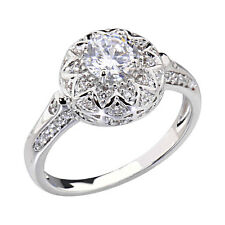 White Gold Plated Women Wedding Engagement Ring Round CZ Halo Bride Promise Ring