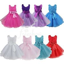 Rose Flower Girl Bow Birthday Party Wedding Bridesmaid Pageant Graduation Dress