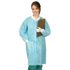 DEFEND Full Length Disposable Lab Coat  Blue.Small,Med,Lar,XLar,XX-LARGE. 50/Box