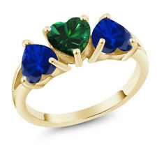 2.28 Ct Simulated Emerald & Blue Simulated Sapphire 18K Yellow Gold 3-Stone Ring