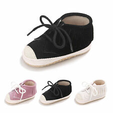 Newborn Baby Toddler Shoes Laces Tassel Soft Sole First Walker Canvas Shoes AU